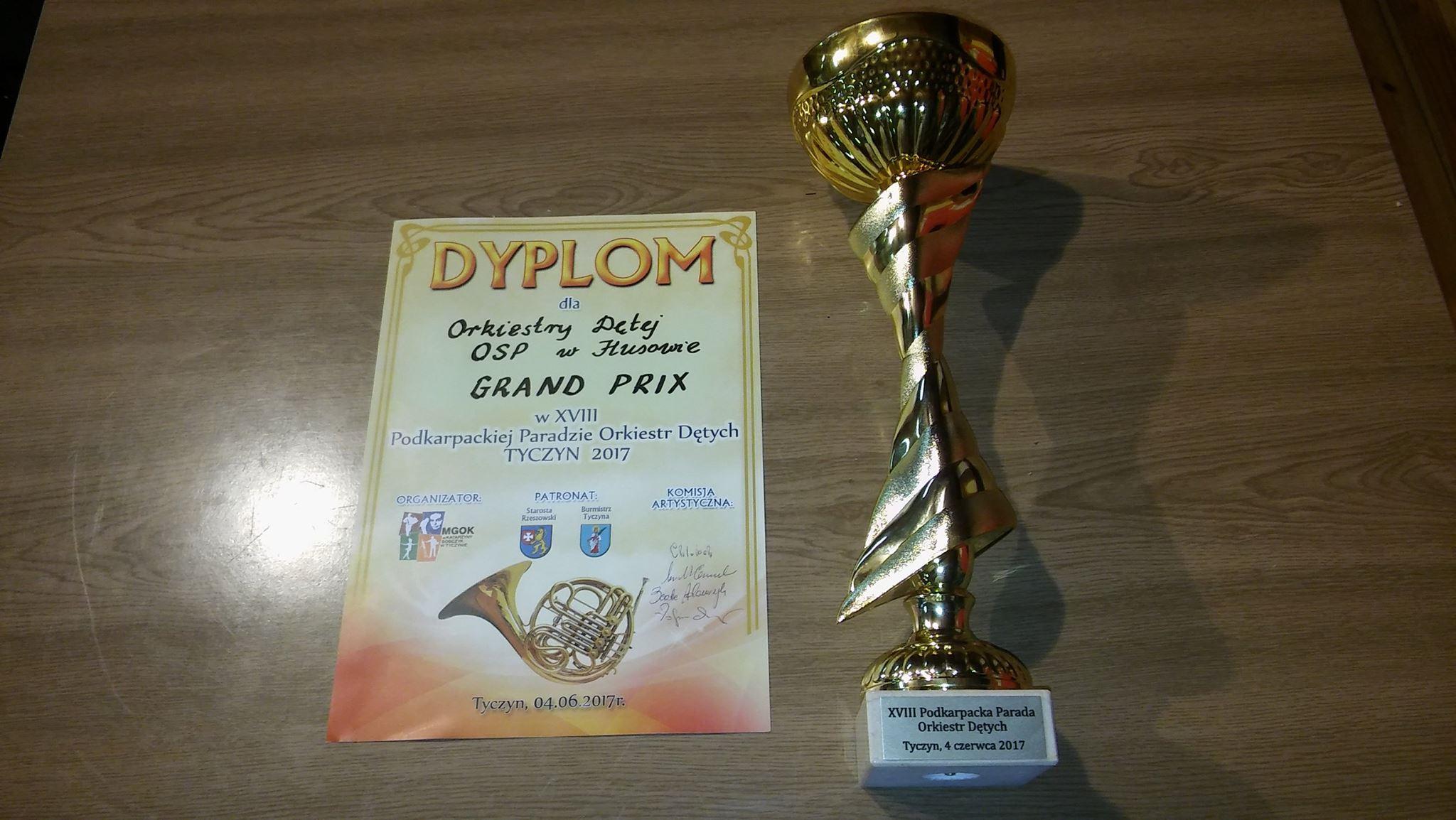 Grand Prix dla Orkiestry Dętej Ochotniczej Straży Pożarnej wHusowie na Paradzie Orkiestr Dętych wTyczynie