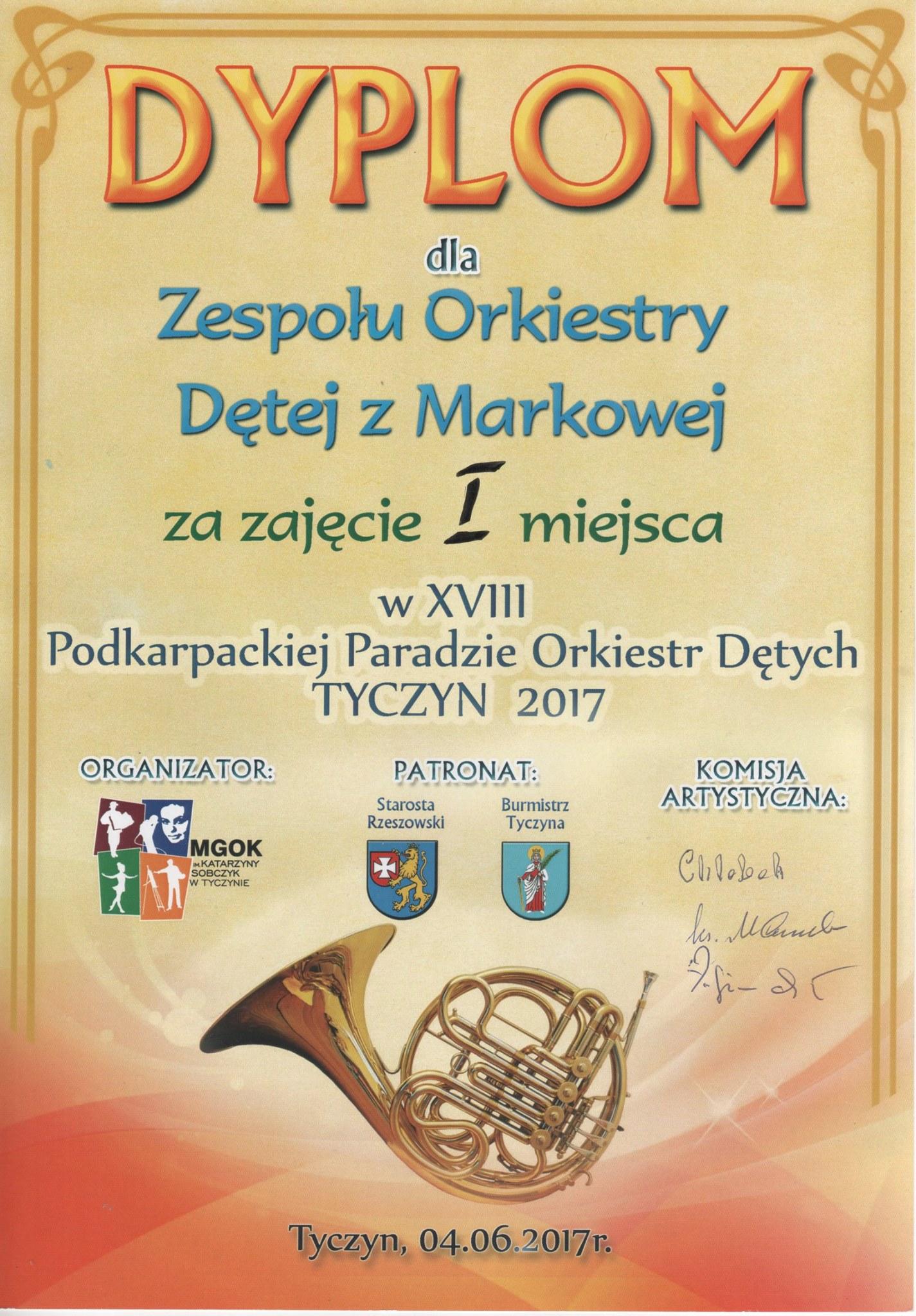 Pierwsze miejsce Zespołu Orkiestry Dętej zMarkowej wTyczynie
